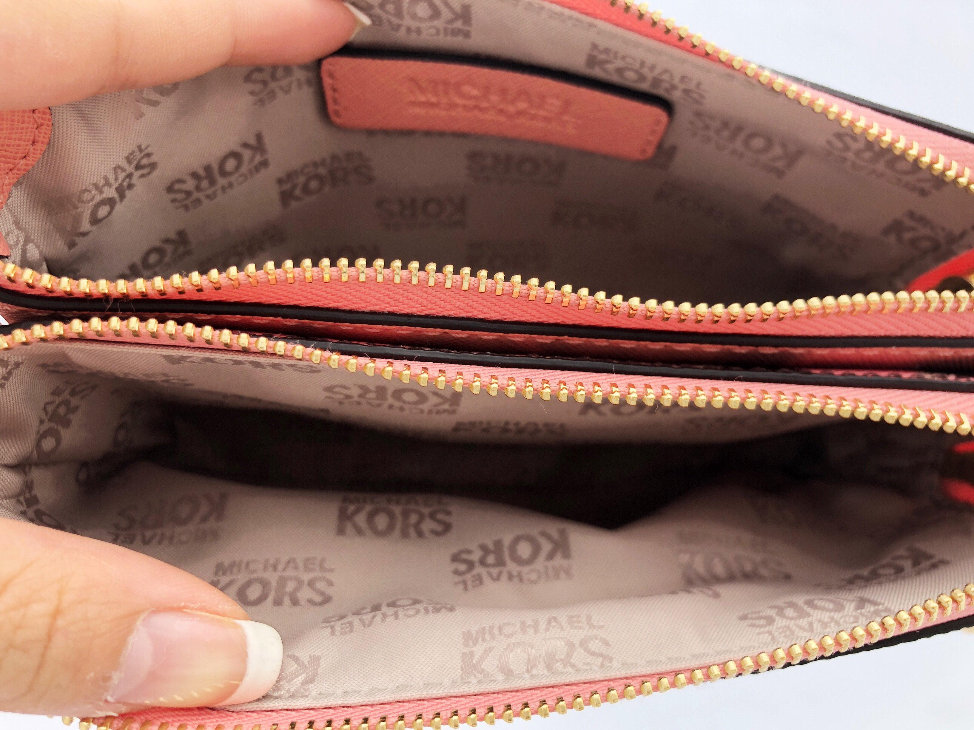 1ed98546d18756 Michael Kors - Michael Kors Large Double Zip Wristlet Peach MK Signature  Floral Wallet - Walmart.com