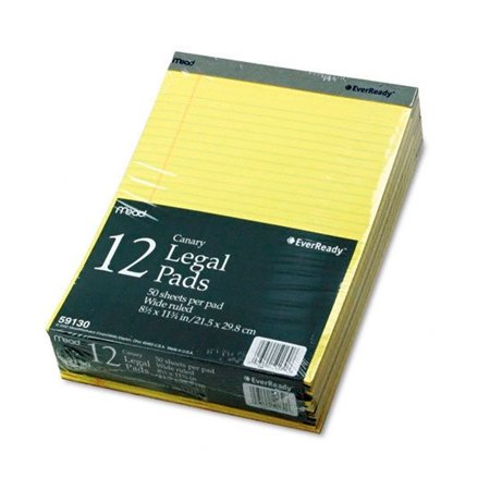 12 Ct Legal Note Pads Wide Ruled Pad Writing 8.5 x 11 Canary Yellow 50 Sheets -