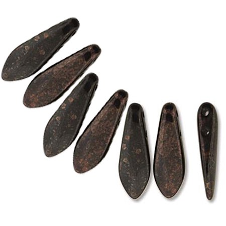 Jet Marbled Dark Bronze 50 Czech Glass Dagger Drop, Loose Beads, 5x16mm 2 Hole