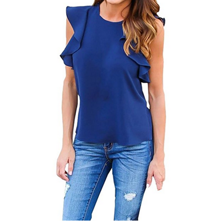 Solid Color Women Flared Sleeve Casual Chiffon Blouse