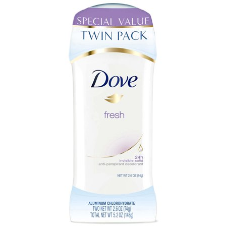 (4 count) Dove Fresh Deodorant, 2.6 oz, 2 Twin