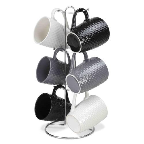 Home Basics Stoneware Mugs Set (Set of 6)