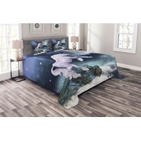 Unicorn Bedspread Set, Legendary Creature Up Cliffs Rocks in Full Moonlight Sky Fantasy Design Artprint, Decorative Quilted Coverlet Set with Pillow Shams Included, Lilac Blue, by Ambesonne