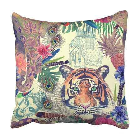 ARTJIA Vintage With Elephant Tiger Head Exotic Flowers Pineapple Feathers Sketches Pillowcase 18x18 inch