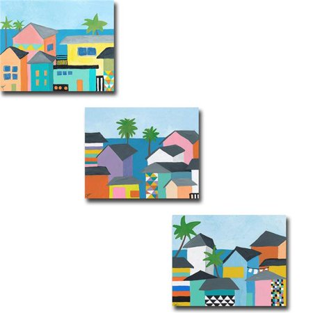 Beachfront Property I, II & III by Jan Weiss Custom Gallery-Wrapped Canvas Giclee Art Set - Ready to Hang, 16 x 20 x 1.5 in. - image 1 de 1
