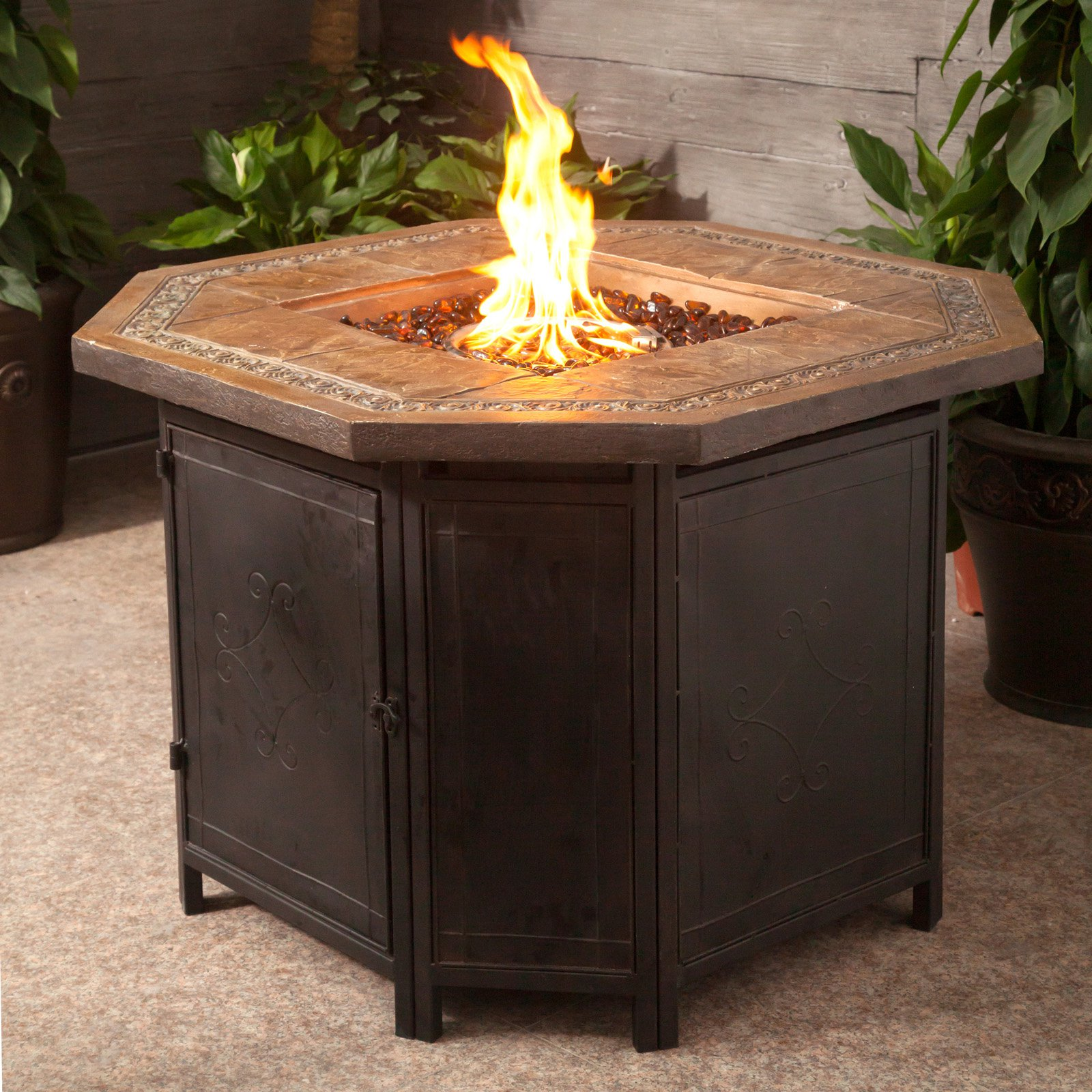 AZ Patio Heaters Faux Stone Octagon Fire Pit