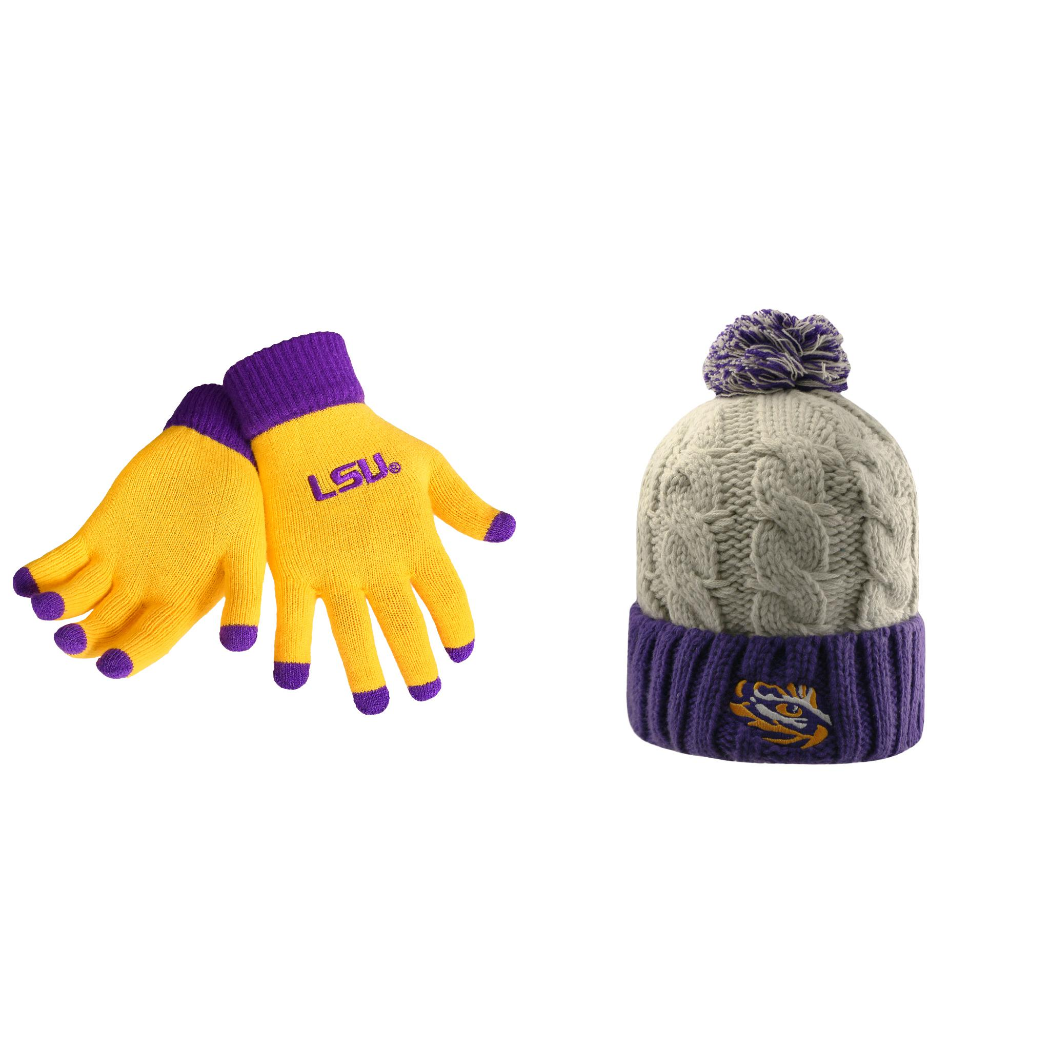NCAA LSU Tigers Gust Beanie Hat And Glove Solid Knit 2 Pack Bundle