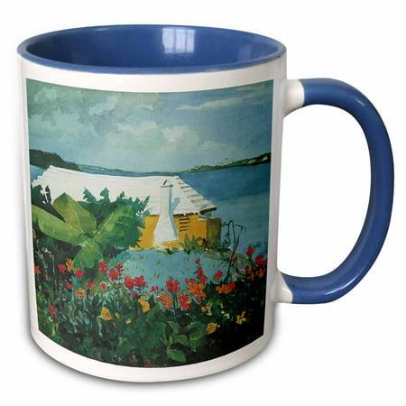 3dRose Flower Garden and Bungalow in Bermuda Ocean Landscape - Two Tone Blue Mug,