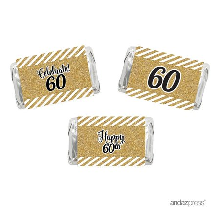 Milestone Hershey's Miniatures Labels Stickers, Celebrate 60, 60th Birthday or Anniversary, 36-Pack, , Not Real Glitter (Anniversary Stickers)
