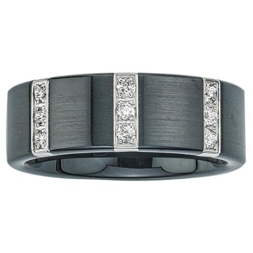 Black Ceramic and Stainless Steel Men's 1/4ct TDW Diamond Wedding Band SIZE 8