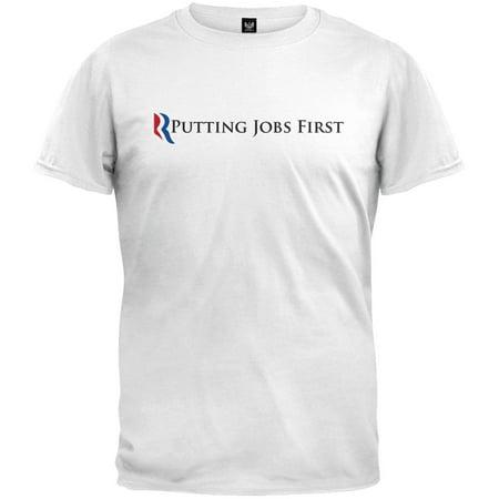 Mitt Romney - Putting Jobs First White Adult T-Shirt