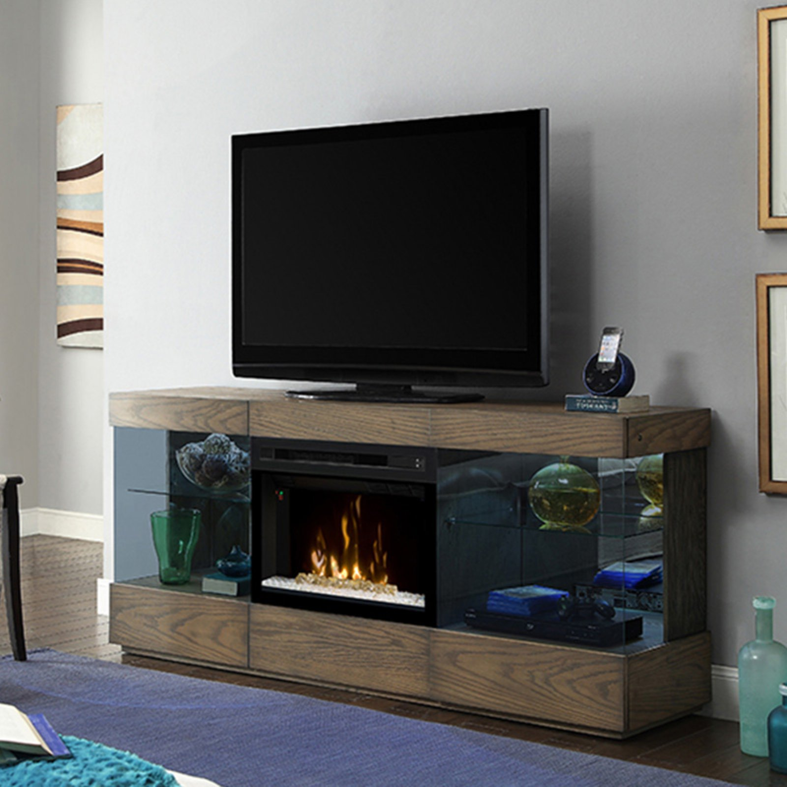 "Dimplex Axel Media Console Electric Fireplace With Glass Ember Bed for TVs up to 70"", Raked Sand"