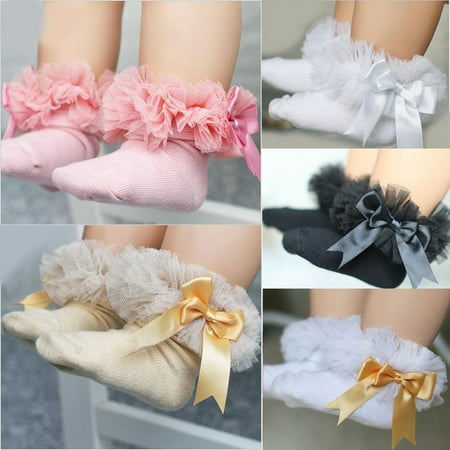Sock Hop Girl (Baby Girls Kids Princess Bowknot Sock Lace Ruffle Frilly Trim Cotton Ankle)