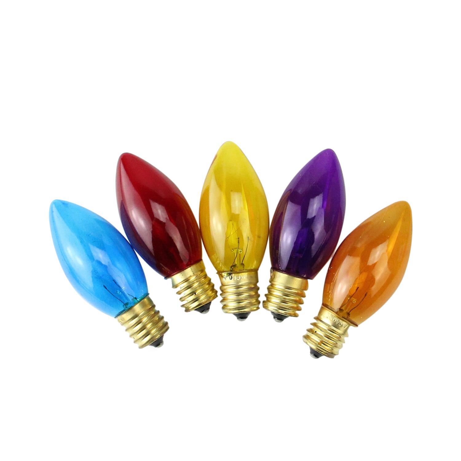 Pack of 25 Incandescent C9 Multi-Color Christmas Replacement Bulbs
