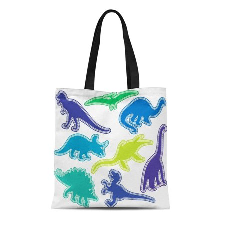 Cool Love Green (LADDKE Canvas Tote Bag Colorful Silhouettes Dinosaur Green Purple Cute Love Cool Tyrannosaurus Reusable Handbag Shoulder Grocery Shopping Bags )