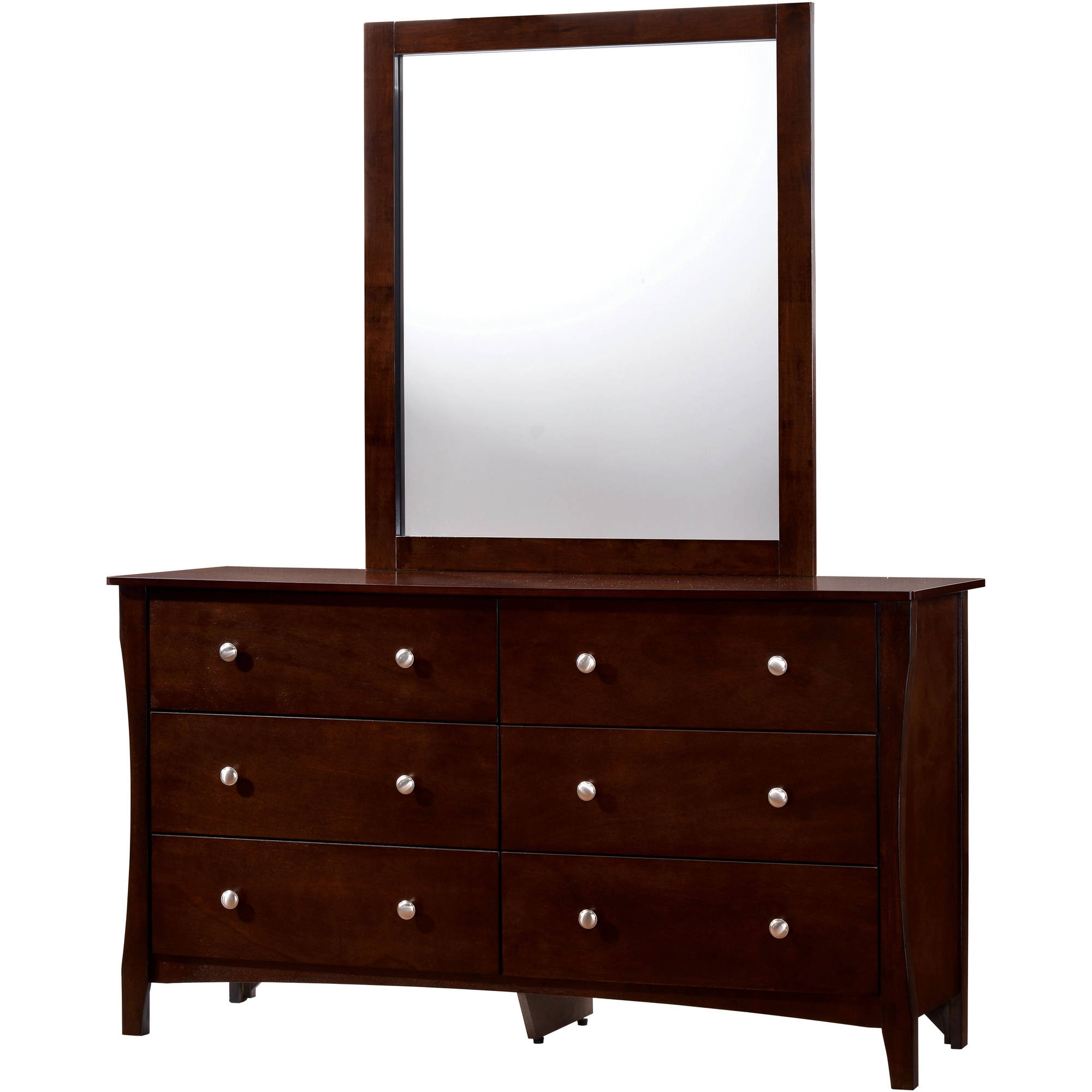 Furniture of America Areena Dresser and Mirror Set, Brown Cherry