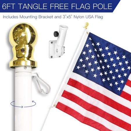 6 Feet Tangle-Free Flagpole Kit, ANLEY Aluminum Spinning Wall Mount Flag Pole with USA Flag and Mounting Bracket– Heavy Duty, Weather Resistant & Rust Free – White