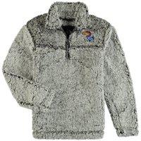 Kansas Jayhawks Girls Youth Sherpa Super-Soft Quarter-Zip Pullover Jacket - Gray