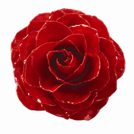 Lacquer Dipped Red Rose Brooch