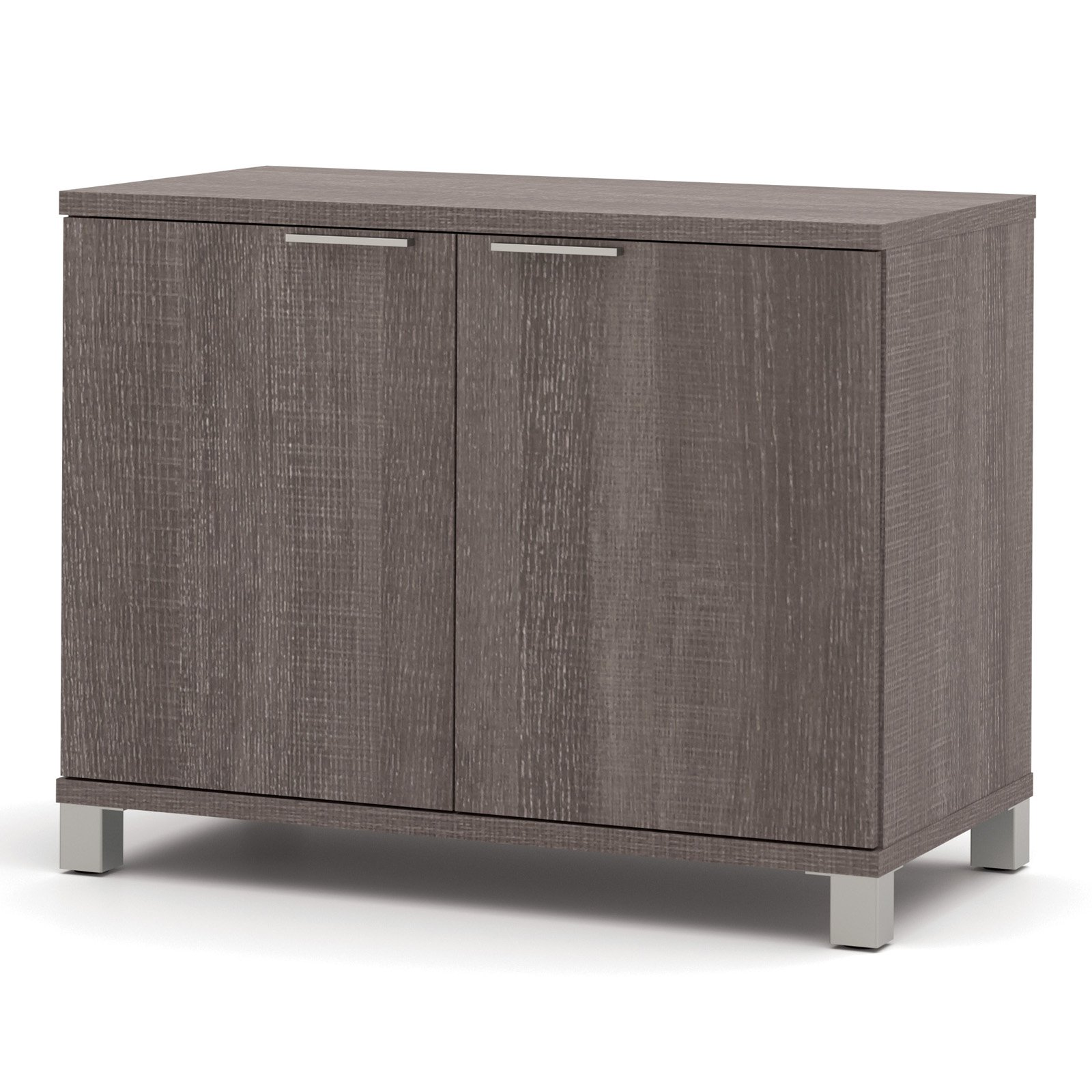 Bestar Pro-Linea 2-Door Storage Unit, Bark Grey