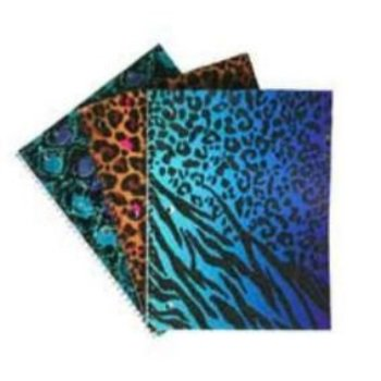 emraw animal print notebook spiral with 70 sheets of wide ruled white paper - set includes: glitter cheetah / zebra, glitter cheetah and foil snake skin covers (3 pack) (Animal Print Paper)