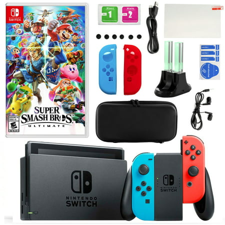 Nintendo Switch in Neon with Super Smash Bros and Accessories Kit