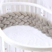 Hand-woven four-strand bed guardrail simple anti-collision decoration bed surround four-strand braid pillow 3M gray