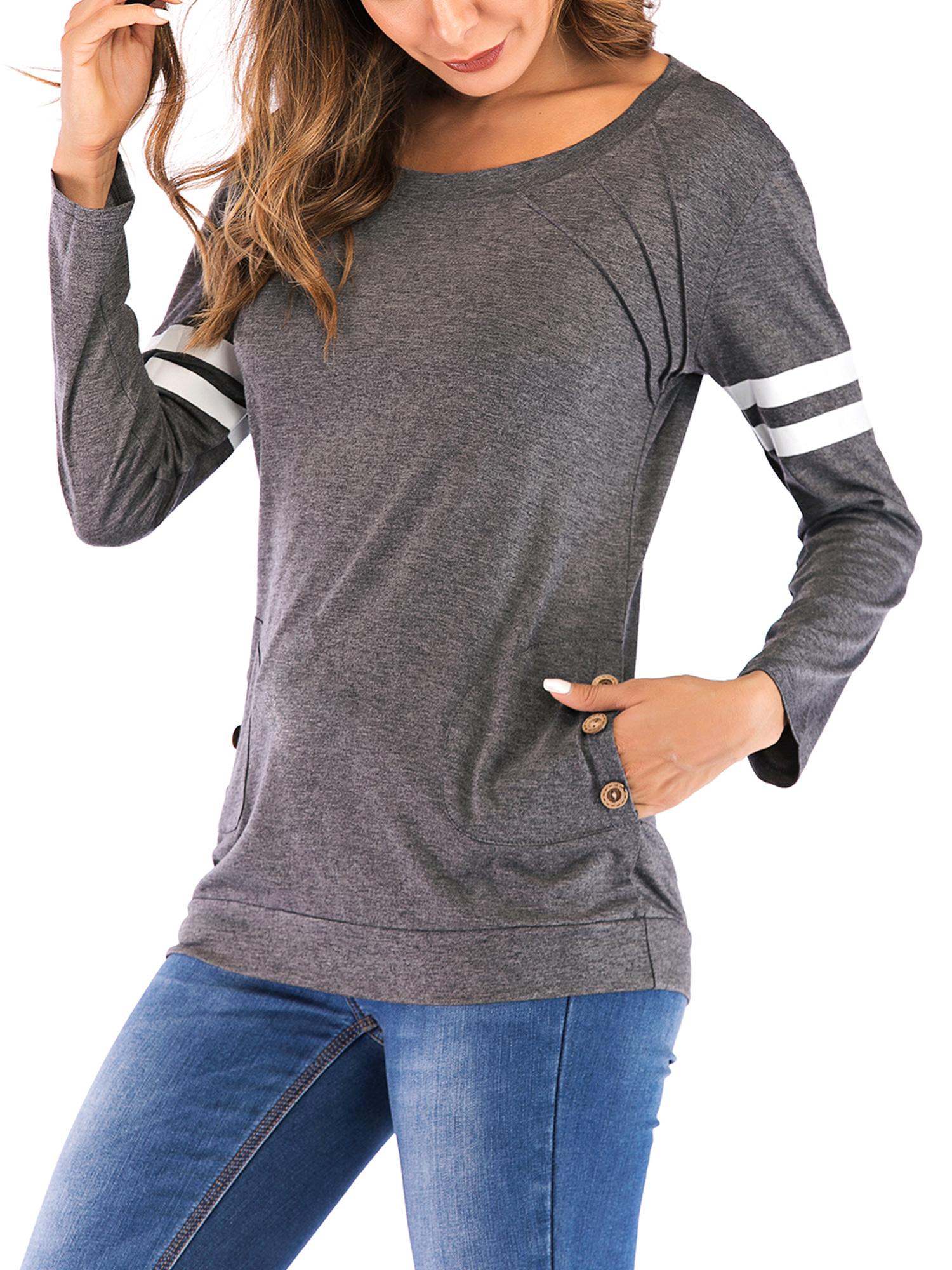 7fcbf253 SAYFUT - SAYFUT Womens Plus Size Striped Shirt Round Neck Long Sleeve  Patchwork Loose T-Shirt Casual Blouse Tops S-3XL - Walmart.com