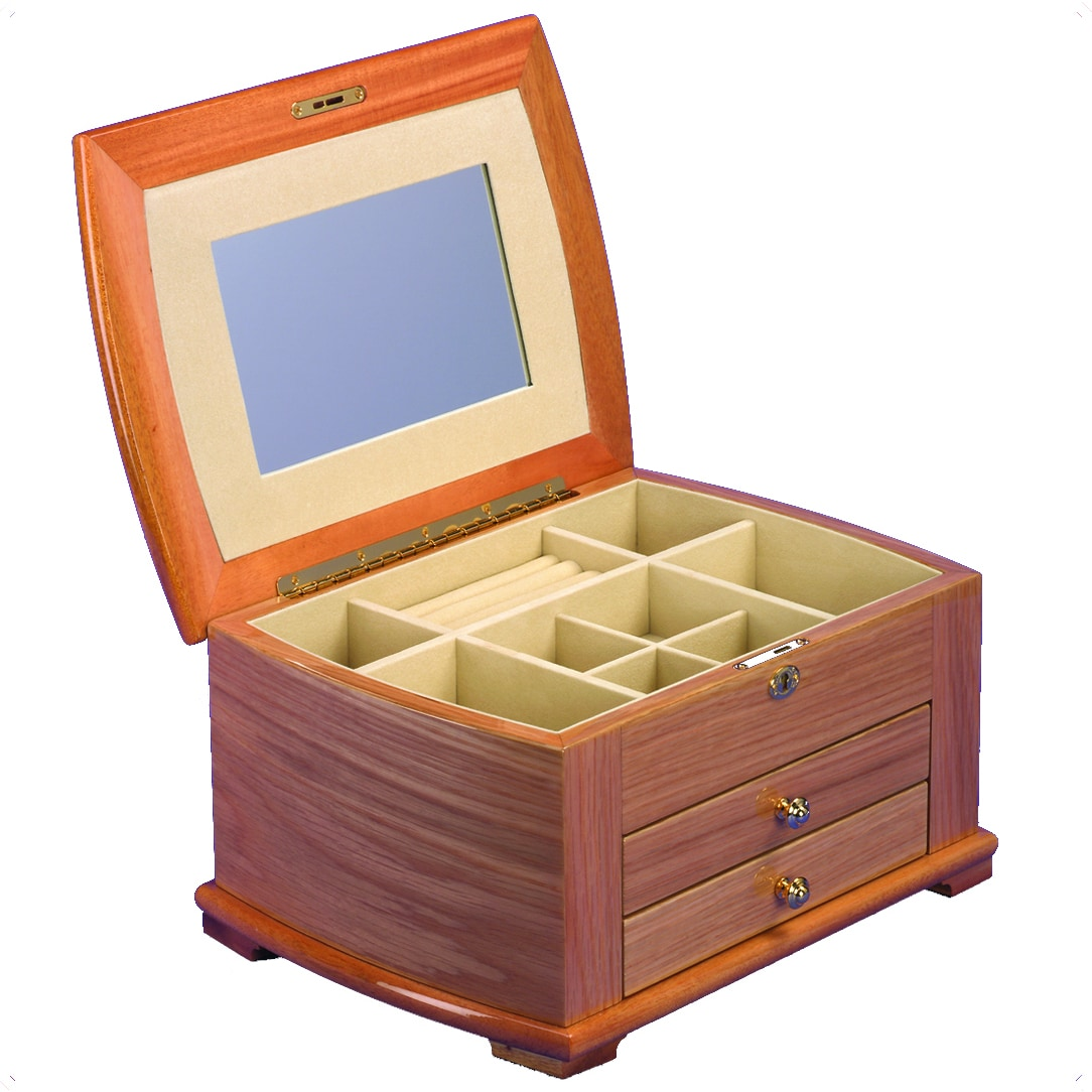ROCKET REDBOX Wood Jewelry Collection Box with Drawer
