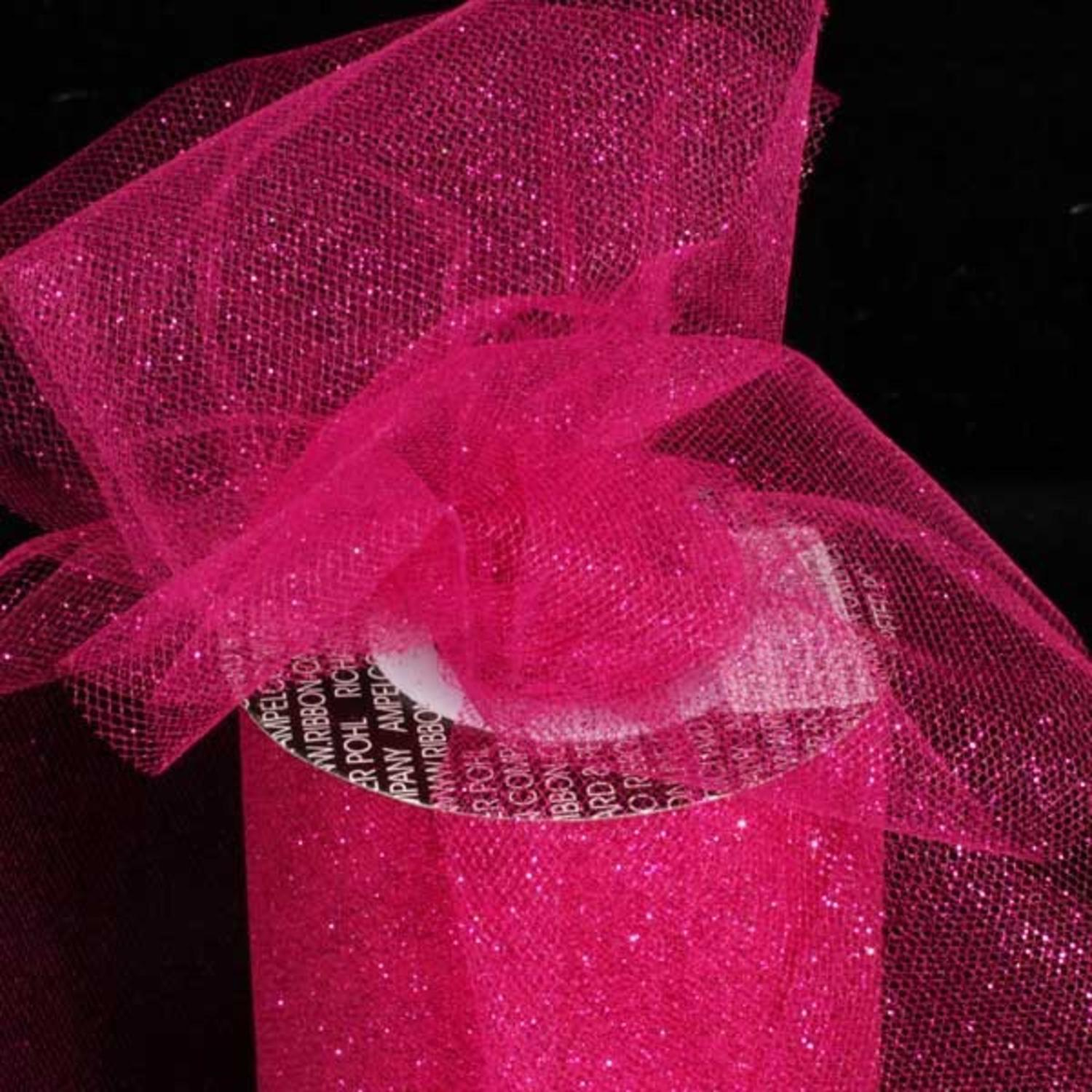 "Designer Hot Pink Glitter Tulle Craft Ribbon 6"" x 110 Yards"