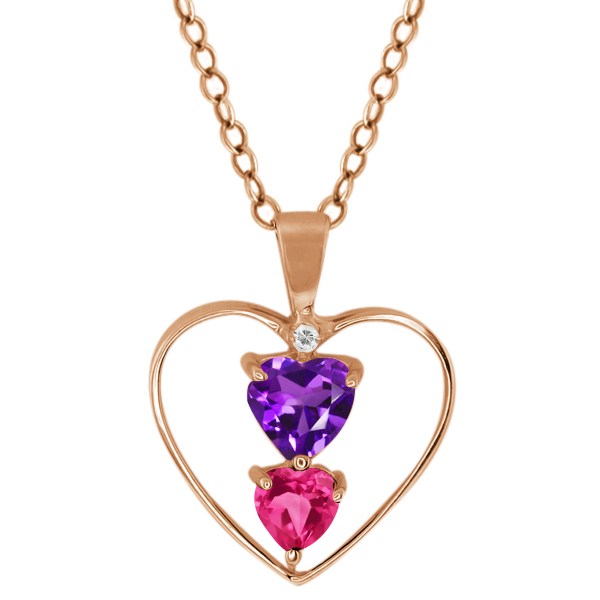 0.83 Ct Heart Shape Purple Amethyst Pink Mystic Topaz Gold Plated Silver Pendant