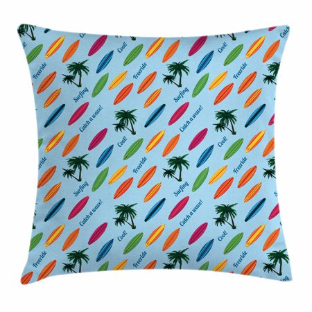 Surfboard Throw Pillow Cushion Cover, Exotic Hawaii Vacation Palm Trees and Colorful Boards Water Sports Fun Activities, Decorative Square Accent Pillow Case, 18 X 18 Inches, Multicolor, by Ambesonne