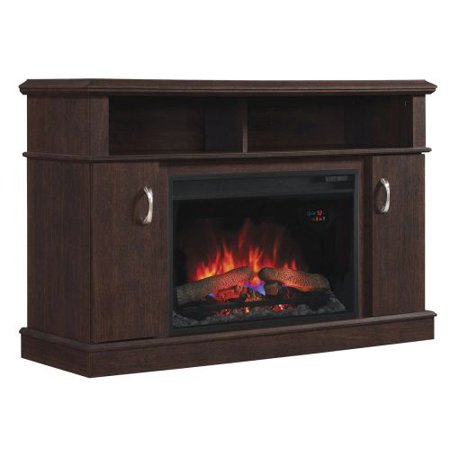 Dwell TV Stand w/25″ Curved Infrared Quartz Fireplace, Midnight Cherry