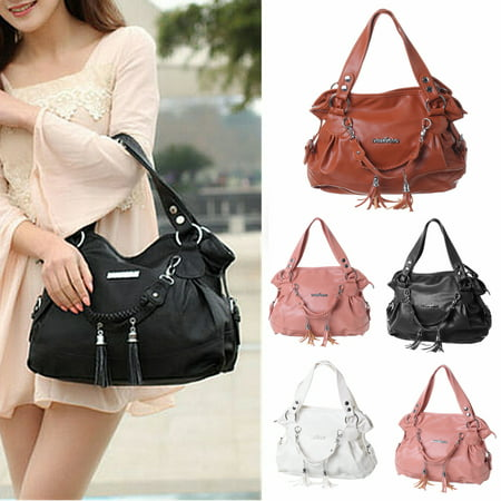 Backpack Purse Tote - LDPT New Fashion PU Leather Handbag Shoulder Bag Travel Backpack Tote Purse Tassel Large With Zipper For Women Girls Lady