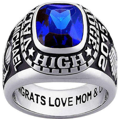 Personalized Guy's Silver Plated Celebrium Large Traditional Class Ring