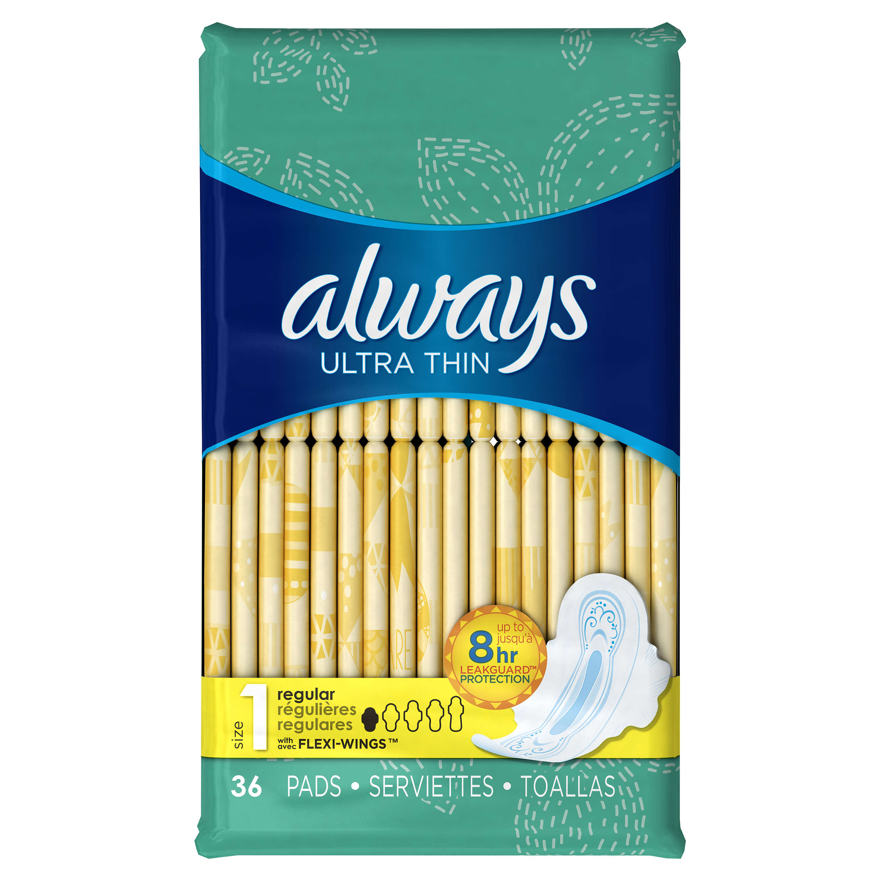 Always Ultra Thin Pads with Wings, Regular, Unscented, 36 Ct, Size 1