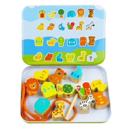 Cartoon Animal Fruit Blocks Set Wooden Stringing Beaded Toys Children Learning Education Colorful Products Kids Toy - image 1 de 8