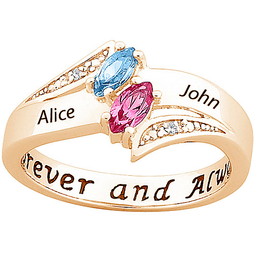Sterling Silver with 18K Gold Overlay Personalized Couple's Birthstone Ring with Diamond Accents