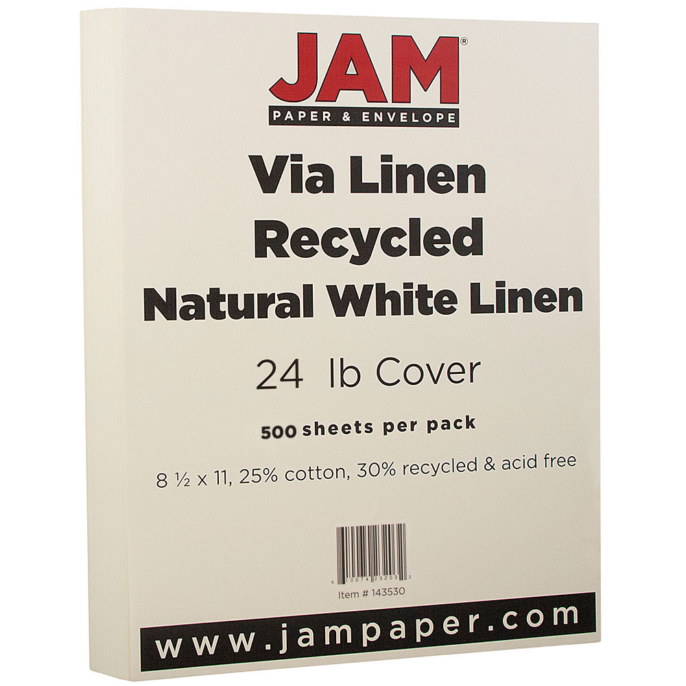 """JAM Paper Strathmore Paper, 8.5"""" x 11"""", 24 lb Strathmore Natural White Linen Recycled, 500 Sheets/Ream"""