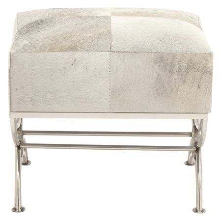 DecMode Stainless Steel Stool with Leather Hide Cushion