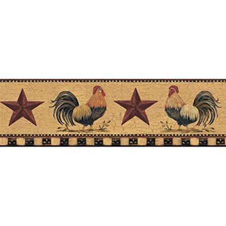 (York Wallcoverings Welcome Home YC3402BD Rooster Border, Manila Tan / Barn Red / Bright Red / Black)