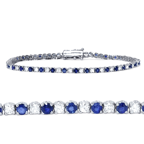 2ct Blue Sapphire & Diamond Genuine Tennis Bracelet 14K White Gold by Pompeii3