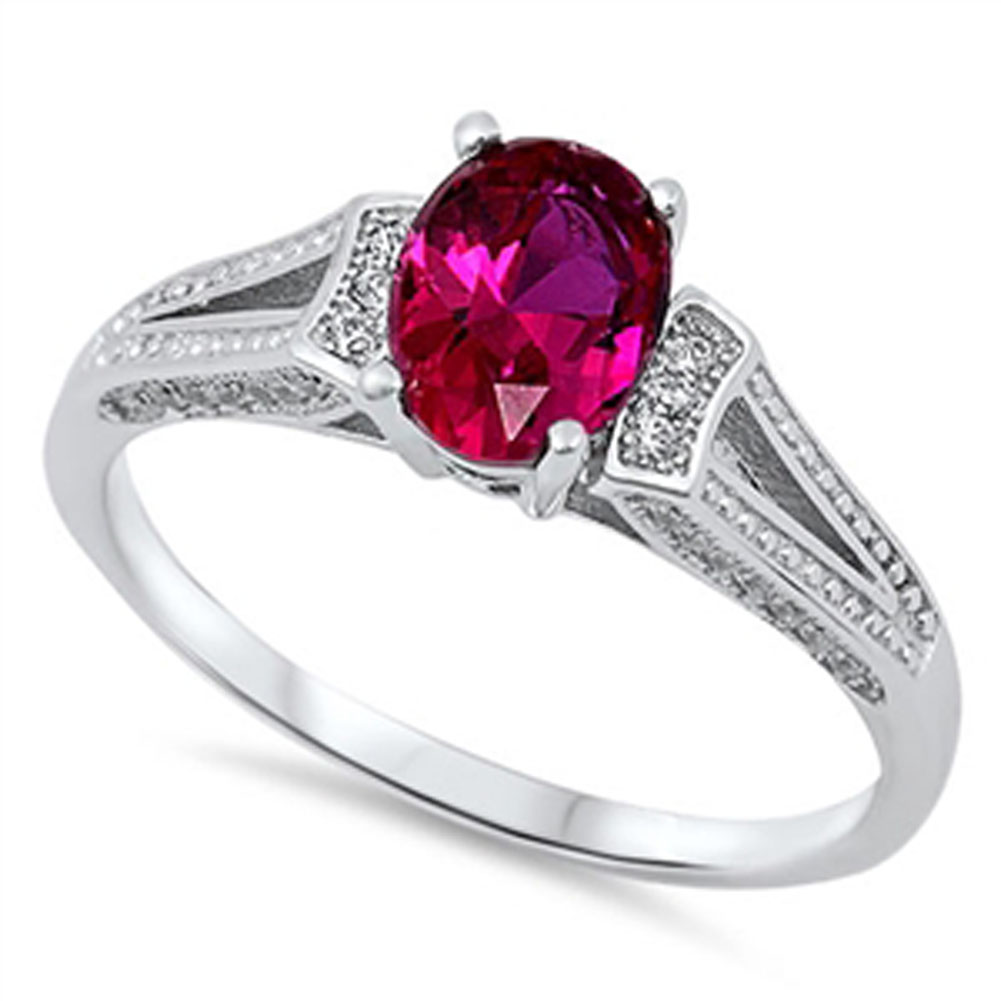 Women's Simulated Ruby Solitaire Wedding Ring ( Sizes 3 4 5 6 7 8 9 10 11 12 13 ) New .925 Sterling Silver Band Rings by Sac Silver (Size 8)