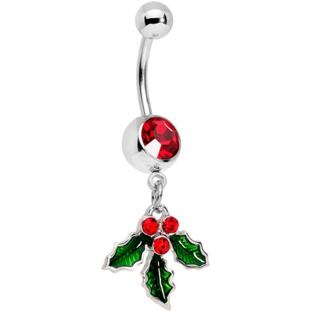 Red Belly Button Navel Ring (Body Candy 14G 12mm 316L Steel Navel Ring Red Accent Holiday Kiss Me Mistletoe Belly Button Ring 1/2