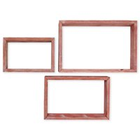Set of 3, Rectangle, Open Back, Vintage Farmhouse Shadow Box Shelves, Barnwood Decor Collection, Salvage Red