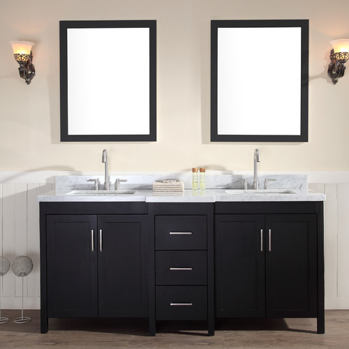 Ariel Bath Hollandale 73'' Double Sink Vanity Set with Mirrors
