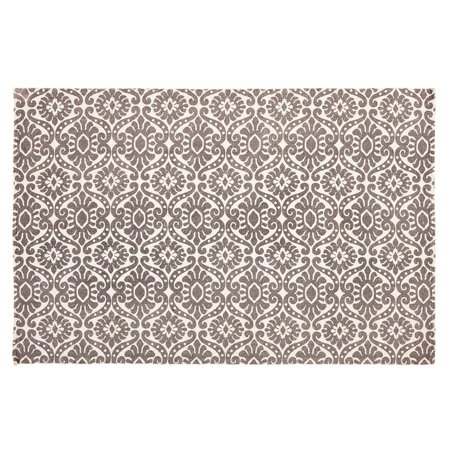 Smoky Plum Purple Boho & Eclectic Flooring Francesca Cotton Latex Backing Stenciled Medallion Rectangle Accent Rug