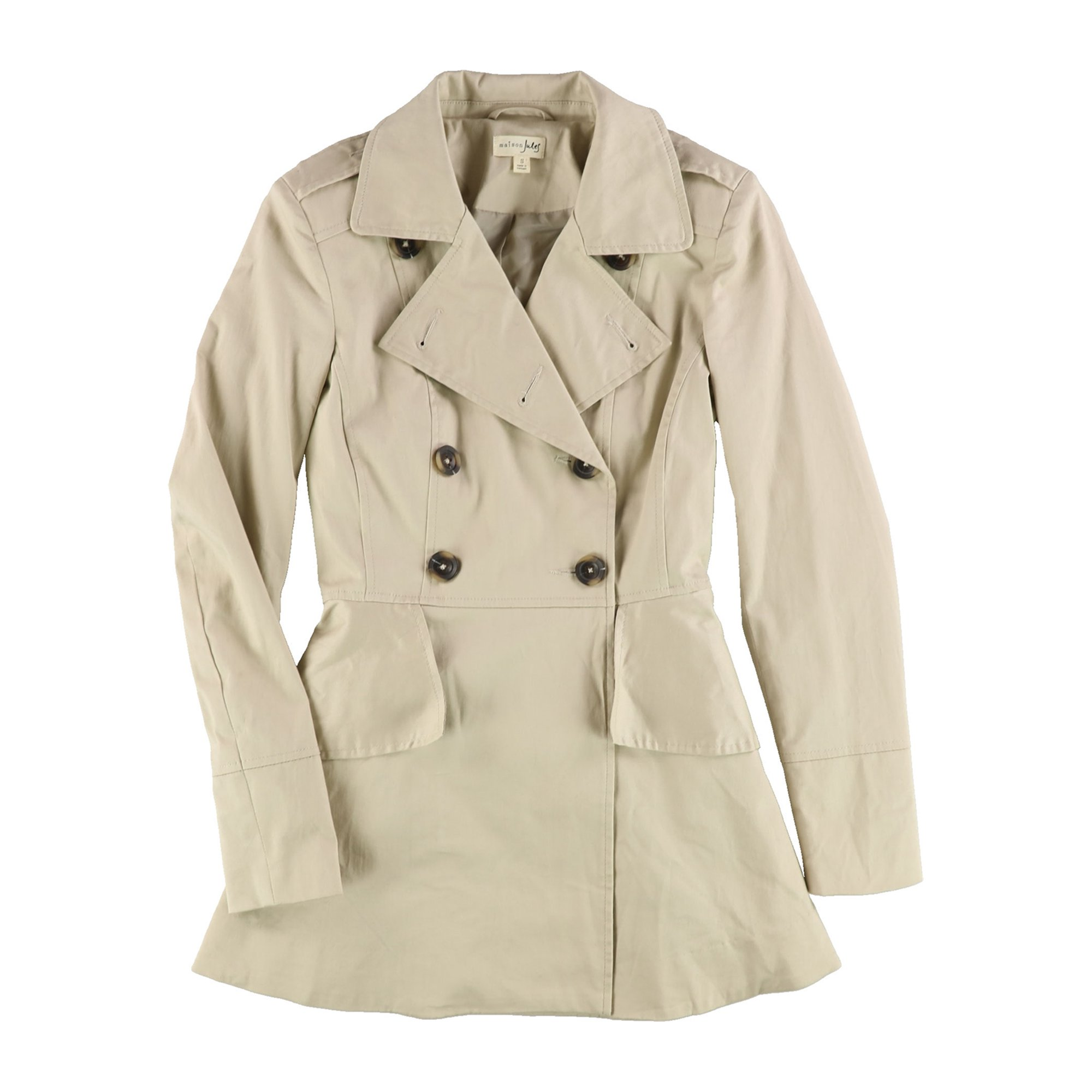 complete in specifications search for official various styles maison Jules Womens Peplum Trench Coat beige S