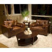 Soho 2-Piece Set Top Grain Leather Standard Accent Chairs in Rustic