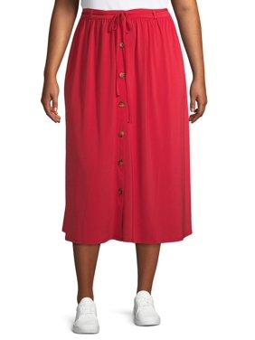Terra & Sky Women's Plus Size Button Front Maxi Skirt